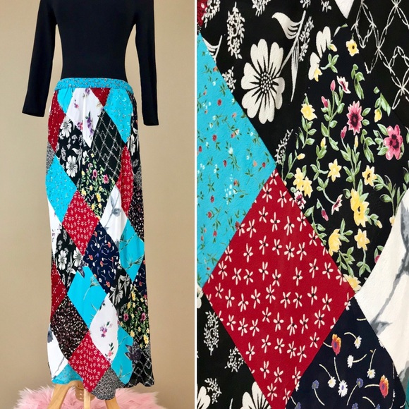 708956a1a Vintage Skirts | 90s Boho Patchwork Floral Rayon Maxi Skirt | Poshmark